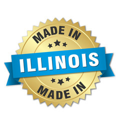 Made in illinois gold badge with blue ribbon vector