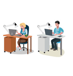 man and woman working on computer vector image vector image