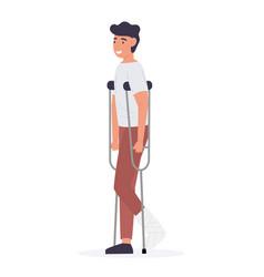 Man on crutches with broken leg in gypsum vector
