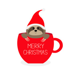 merry christmas sloth sitting in red coffee cup vector image