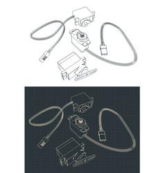 Micro servos drawings vector