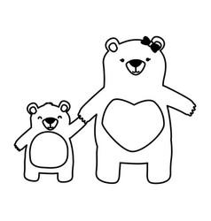 Mom bear and son vector