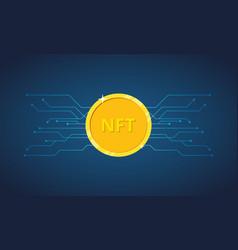 Nft non fungible token nft golden coin icon vector