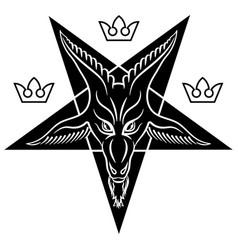 pentagram sign lucifer the head vector image
