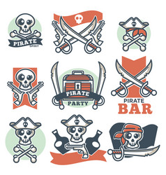 Pirate spirit logo emblems poster on white vector