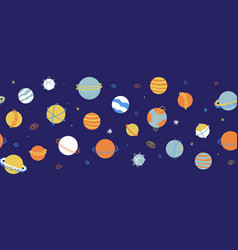 Planets outer space seamless border galaxy vector