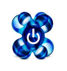 power button blue icon start symbol vector image
