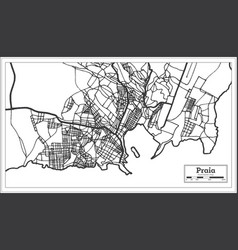 Praia cape verde city map iin black and white vector