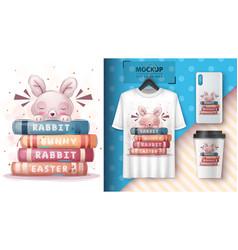 Rabbit reads books poster and merchandising vector