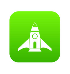 rocket icon digital green vector image