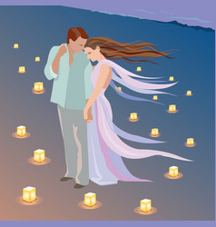 romantic date on the beach with candles vector image