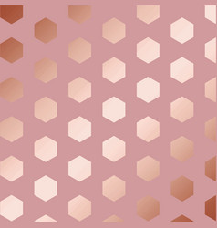 Rose gold decorative pattern with hexagons vector