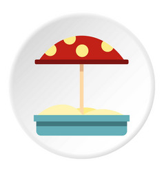 sandbox with red dotted umbrella icon circle vector image