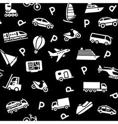 seamless black background white transport icons vector image