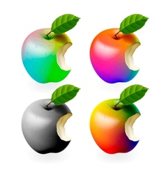 Set of colored bitten apples isolated vector