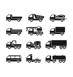 Set of icons of trucks vector