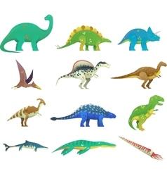 Set of isolated cartoon dinosaur or dino vector