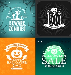 Set retro happy halloween badges design element vector