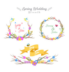 set spring wedding wreaths vector image