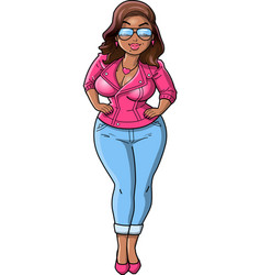 Sexy black curvy bbw woman cartoon pink leather vector