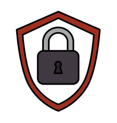 Shield with safe secure padlock icon vector