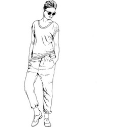 Slender sporty girl drawn in ink by hand vector
