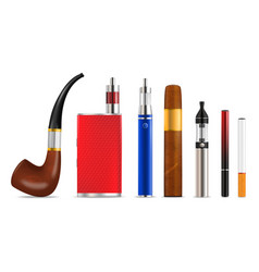 smoking and vaping cigarette icon set vector image