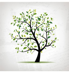 Spring tree green on grunge background vector