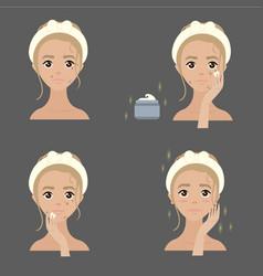 Steps how to apply anti pigmenation facial cream vector