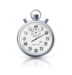 stopwatch in realistic style classic metal vector image