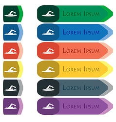 swimmer icon sign Set of colorful bright long vector image