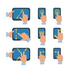 Touchscreen gestures icons set vector