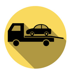 Tow car evacuation sign flat black icon vector