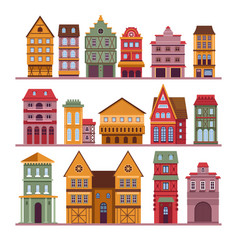 Urban architecture town buildings houses and vector