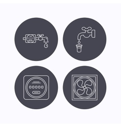 Ventilation water counter icons vector