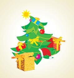 vintage christmas tree vector image
