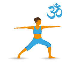 Virabhabdrasana or warior yoga pose vector