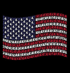 Waving american flag stylization of litecoin icons vector