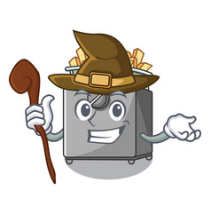 Witch cooking french fries in deep fryer cartoon vector