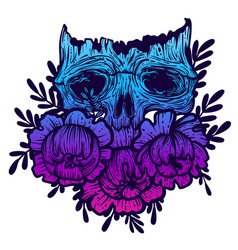 with a human skull and flowers vector image