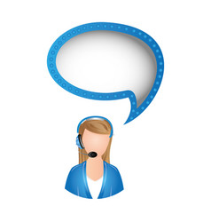 woman call center with chat bubble vector image