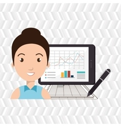 woman with pc isolated icon design vector image