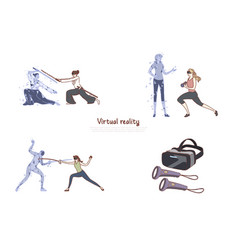 Women in vr headsets ar leisure fitness training vector