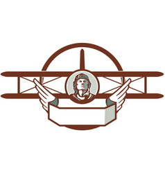 World War 1 Pilot Airman Spad Biplane Circle Retro vector