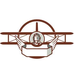 World War 1 Pilot Airman Spad Biplane Circle Retro vector