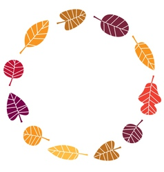 Wreath with colorful Autumn leaves vector image