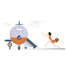Young woman in airport vector
