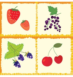 Berry and fruits seamless pattern vector image vector image