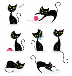 black cat silhouettes vector image vector image