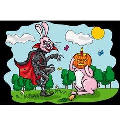 Halloween Jack and Easter Rabbit vector image